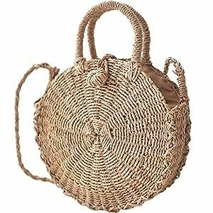 D.RoC Borsa di paglia intrecciata Borsa di paglia intrecciata di erba Borsa di mano di donne fatte a mano rotonda Borsa alla moda Borsa di compleanno del sacchetto di Tote Beach ragazze alla moda (S)