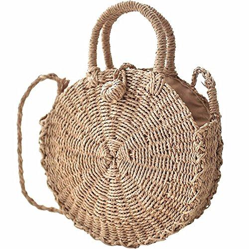 D.RoC Borsa di paglia intrecciata Borsa di paglia intrecciata di erba Borsa di mano di donne fatte a mano rotonda Borsa alla moda Borsa di compleanno del sacchetto di Tote Beach ragazze alla moda (L)