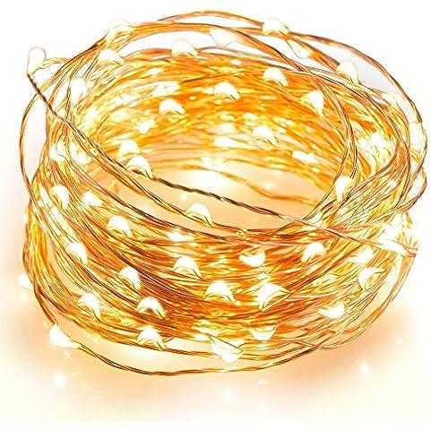 Kohree–Guirnalda LED inalámbrico cobre 100LED 10M cadena de luces con recinto de