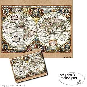 Set Regalo: 1 Póster Impresión Artística (50×40 cm) + 1 Alfombrilla para Ratón (23×19 cm) – Mapas Históricos, Carta del Mundo, Nova Totius Terrarum, 1630