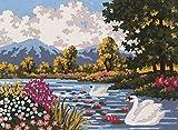 grafitec Gedruckt Tapisserie/Set–Fluss Landschaft (Swan)