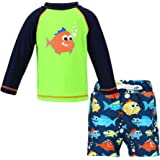 LACOFIA Costume da Bagno per Bambino a Due Pezzi Magliette e Pantaloncini da Bagno Set per Ragazzo UPF50 + Protezione Solare