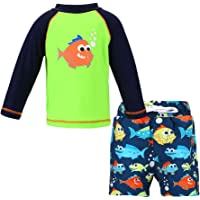LACOFIA Costume da Bagno per Bambino a Due Pezzi Magliette e Pantaloncini da Bagno Set per Ragazzo UPF50 + Protezione…