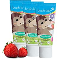brush baby Fluoride-Free Strawberry Infant and Toddler Toothpaste (0-2 Years) with Xylitol, Multicolor