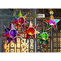 MOROCCAN STYLE STAR HANGING GLASS LANTERN (TEALIGHT HOLDER) - HOME & GARDEN (Small Multi) by SupremeBuy