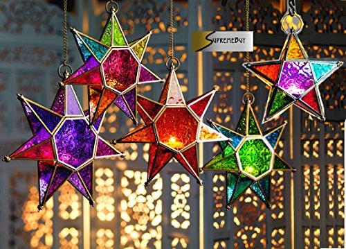 Laterne Marokkanischer Stil Stern zum Aufhängen aus Glas (Teelichthalter), für drinnen und draußen, glas, gold, Large Green/Blue Marokkanische Laterne Türkis