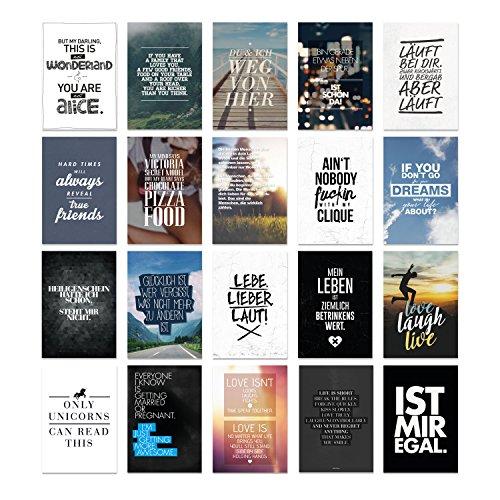 VISUAL STATEMENTS Postkartenset; mit 20 Postkarten - Karten mit verschiedenen Sprüchen; schöne Spruchkarten im Set; hübsche Motivkarten - Postkarten in XXL – eine schöne Geschenkidee