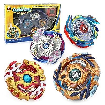 Woooly Bay Bay éclaté 4 morceau gyroscopique ensemble toupies avec deux façons tirer la règle lanceur haute vitesse Spinning Tops pour enfants enfants jouets