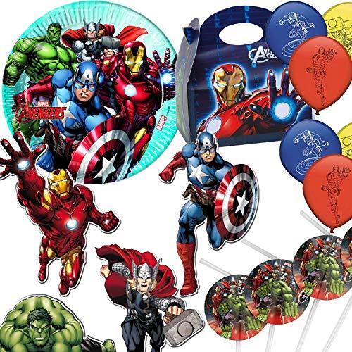 Procos/Carpeta 59-TLG. Party-Set * Avengers Assemble * für Kindergeburtstag und Motto-Party   Hulk Iron Man Captain America Thor Kinder Geburtstag Marvel Comic (Captain America Avengers Assemble)