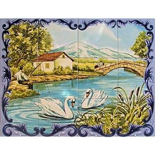 Azul'Decor35 Wand-Fliesen - Wandbild gemalt auf Email Fayence - 60x45cm (12 Kacheln 15x15cm)