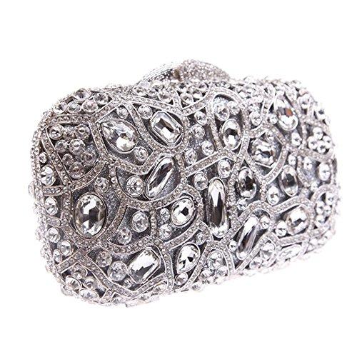 Damen Clutch Abendtasche Handtasche Geldbörse Groß Schick Strass Kristall Tasche mit wechselbare Trageketten von Santimon(8 Kolorit) Silber