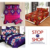 STOP N SHOP Super Home Combo Set Of 3 Grace Cotton King Size Double Bedsheet With 6 Pillow covers