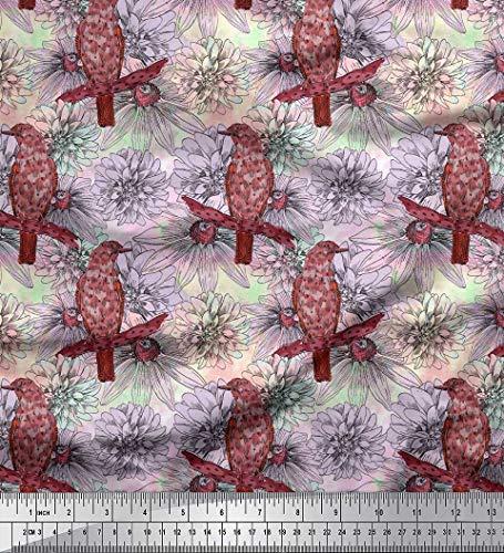 Soimoi Orange Mousse Georgette en Tissu Oiseau et Dahlia Floral Tissu Imprime 1 Metre 42 Pouce Large