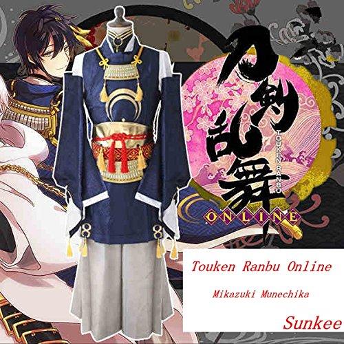 Sunkee Touken Ranbu Online Mikazuki Munechika cosplay Kostüm,Maßgeschneidert (Bitte geben Sie uns Ihr Gewicht, Höhe, Breite, Taille, Brust und Hüfte) (XXL: 175-185cm, Mikazuki - Mikazuki Munechika Kostüm