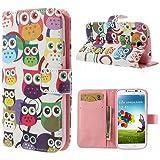 delightable24 - Funda tipo libro para Samsung Galaxy S4 i9500 e i9505 (piel, con función atril y cierre magnético) Owls Edition