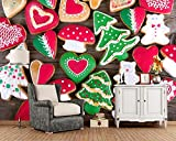 BZDHWWH Custom 3D Wandbilder Weihnachtsplätzchen Pilze Herz Baum Essen 3D Tapete Wohnzimmer Sofa Tv Wand Schlafzimmer Tapeten Wohnkultur,420cm(W) x 260cm(H)