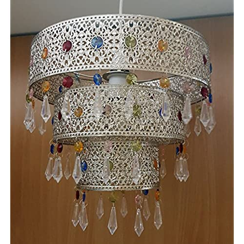Non electric pendant shade amazon kliving ligier metal acrylic non electric ceiling pendant 3 tier light shade mozeypictures Image collections
