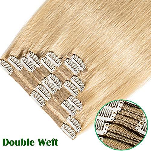 Extension capelli veri clip biondo lisci naturali 25cm 10