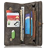 iPhone/Samsung Leder Handytasche Case Hülle Geldbörse mit Kartenfach abnehmbar Magnet Handy Schutzhülle für Samsung Galaxy S7 in Grau