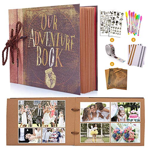MMTX DIY Scrapbook Fotoalbum, Our Adventure Book Gästebuch Album für Reise Valentinstag Hochzeit Geburtstag Jahrestag Geschenk 80 Seiten (40 Blatt) mit Aufbewahrungsbox und Zubehör-Kit