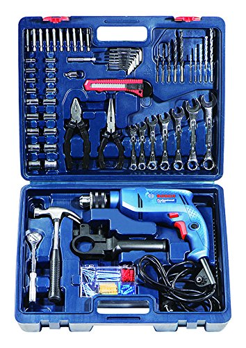 Bosch Mechanic Kit GSB 550-Watt Impact Drill Kit (Blue, 122-Pieces)