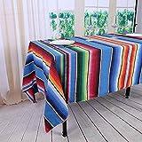 YZEO 144,8x 259,1cm (145x 260cm) Mecican Flagge Tisch Bezug National Stil Party Bankett 100% Baumwolle Blau Streifen Tischdecken 2Pack