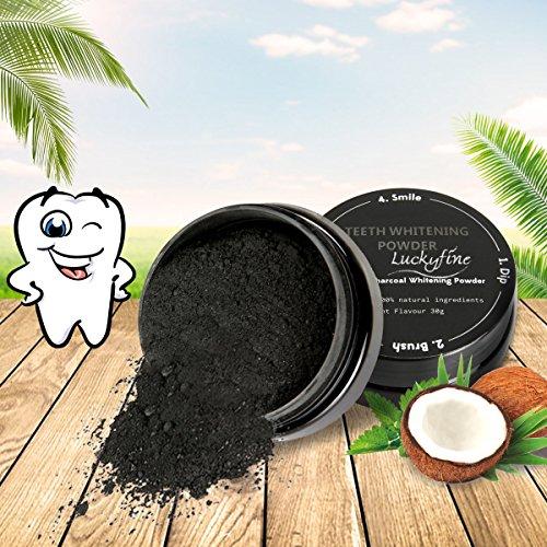 Polvo Blanqueador de Dientes, LuckyFine Dental negro polvo del natural COCO Carbón Activado, Teeth Whitening Cleansing Powder