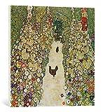kunst für alle Leinwandbild: Gustav Klimt Gartenweg mit Hühnern - hochwertiger Druck, Leinwand auf Keilrahmen, Bild fertig zum Aufhängen, 60x60 cm