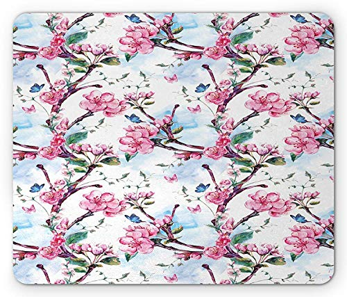 ASKSSD Floral Mouse Pad, Apricot Tree Blooms Branch Summer Season Flowers Essence Growth Print, Standard Size Rectangle Non-Slip Rubber Mousepad, Pink Baby Blue Jade Green Essence-slip