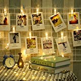 String Lights, Dreamiracle 16 LED Photo Clips 15ft Fairy Lights for Hanging Photos Pictures and Memos, Perfect for Dorm Bedroom Home Decor (Warm White)