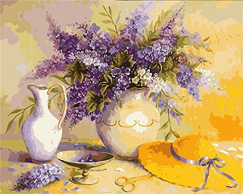 YEESAM ART Neuerscheinungen Malen nach Zahlen für Erwachsene Kinder - Lavendel Blumen Vase Lavender...