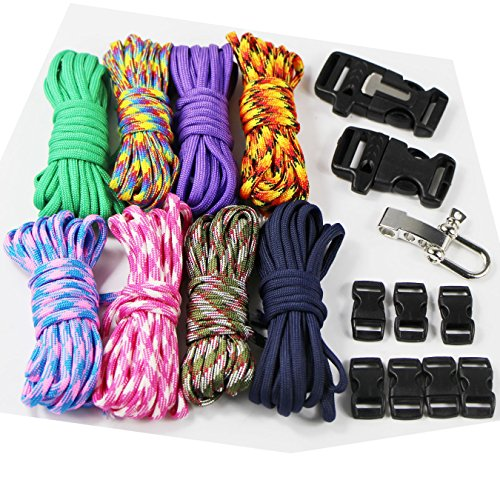 Kit with braided buckles parachute bracelets, outdoor rope survival rope manual 18 pcs UOOOM