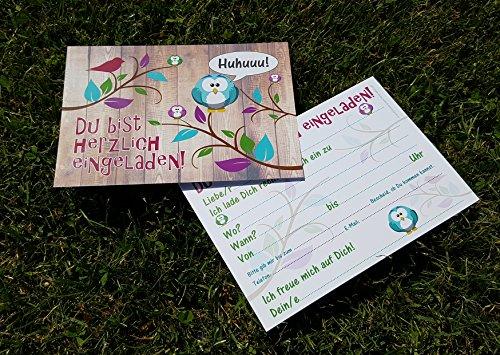12-er Kartenset (10 + 2 Gratis-Karten) mit niedlichem, lustigem Uhu- bzw. Eulen-Motiv, Kindergeburtstag-Einladungskarten für die Geburtstags-Party - 5