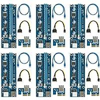 easyDecor (6 Pack) PCIe 6-Pin 1X a 16X Powered Riser Adaptador Tarjeta 164P with 6 Pin PCI-E to SATA Power Cable, 60cm USB 3.0 Tarjeta gráfica dedicada de Cable Minería (Azul)