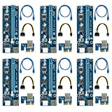 easyDecor (6 Pack) PCIe 6-Pin 1X a 16X Powered Riser Adaptador Tarjeta 164P with 6 Pin PCI-E to SATA Power Cable, 60cm USB 3.0 Tarjeta gráfica dedicad