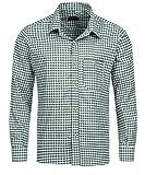 Tracht & Pracht Uomo Cotone Camicia Bavarese Tradizionale a Quadri Verde - S