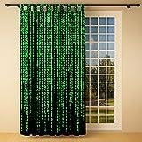 Clever-Kauf-24 Schlaufenschal Vorhang Gardine Matrix Binärer Code BxH 145 x 245 cm | Sichtschutz | Lichtdurchlässiger Schlaufenvorhang Nicht Nur für Programmierer