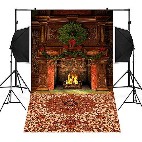 Amphia - Weihnachtshintergrund-Schnee-Vinyl 3x5FT Hintergrund-Fotografie-Studio,Weihnachtsfoto-Studio 3D Studio-Hintergrundtuch 90 * 150cm - 5' Schokolade