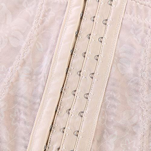 Rabbiter Damen Shapewear Figurformender,Spitze Atmungsaktiv Formende Bodys, Elegant Hohe Taille Taillenformer angenehm Shaping Bodysuit mit Haken - 6