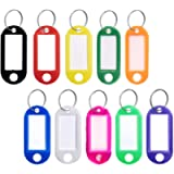Key Tags with Split Ring 10 PCS Key Fobs Labels ID Keyring Tags for Luggage Pet Name Memory Stick Tags, 10 Colors