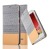 Cadorabo Hülle für ZTE Blade S6 - Hülle in HELL GRAU BRAUN – Handyhülle mit Standfunktion und Kartenfach im Stoff Design - Case Cover Schutzhülle Etui Tasche Book