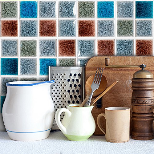 HyFanStr 20cm x 20cm Mosaic Tile Sticker Peel and Stickers Backsplash Wall Tile Decal Kitchen Bathroom (10 Pack, Colorful)