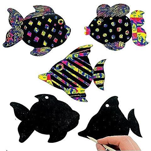 German Trendseller® - 24 x feuilles à gratter┃motif de poissons┃avec des crayons à gratter et des attaches┃couleurs d