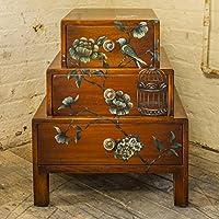 Indira comodino cassettiera camera da letto mobili in mogano massello realizzato a mano e dipinto a mano a 2cassetti Comodino Rich Miele Mogano Asiatico Brown