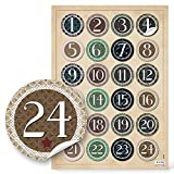 24 Adventskalenderzahlen VINTAGE zum Basteln Sticker Aufkleber Adventskalender Zahlen 4 cm beige grün schwarz natur Weihnachtskalender Etiketten 1 bis 24 für Papiertüten