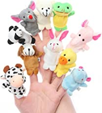 Everbuy Velvet Doll, Cartoon Animal Finger Puppets (Multicolour, EB-224 B)-10-Pieces