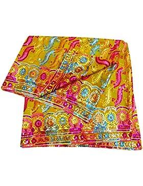 Indio Étnico Dupatta Georgette Tela Mujeres Diseñador Mantón Amarillo Bollywood Vendimia Larga Estola
