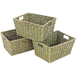 woodluv EliteHousewares Lot de 3 paniers de Rangement en jonc avec poignées