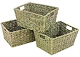 WoodLuv Seagrass Storage Shelf Basket with Insert Handles, Set of 3