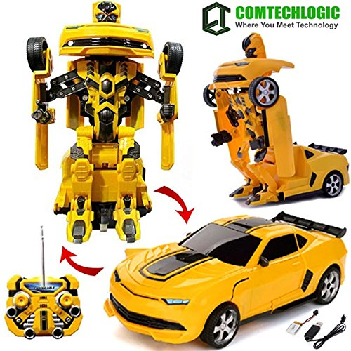Comtechlogic� CM-2170 Chevrolet Camaro Rc Radio Remote Control Bumblebee Transformers Drifting Car & Robot with one touch transforming